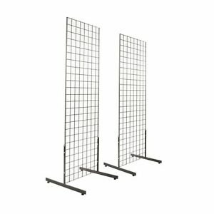 Gridwall Panel Tower With T base Floorstanding Display Kit 2 pack Black 2 x5