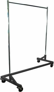 5 Foot Adjustable Height Commercial Single rail Rolling Z Rack Chrome Black