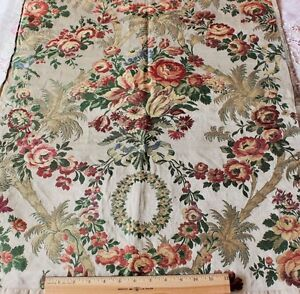 French Antique Silk Metallic Brocade Fabric C1860 70 Woven On 18thc Looms