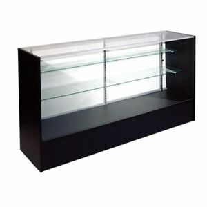2x 4ft Retail Glass Display Case Full Vision Black 4 Showcases