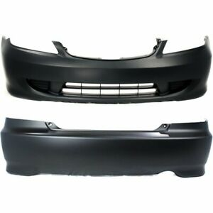 Front Rear Bumper Cover Set For 2004 2005 Honda Civic Coupe Primed Plastic 2pc