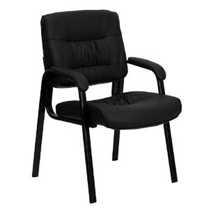 Chair Reception Guest Office Desk Seat Furniture Leather Black Home Waiting Room