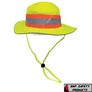 Hi vis Reflective Ranger Style Shading Hat Construction Safety Boonie Cap