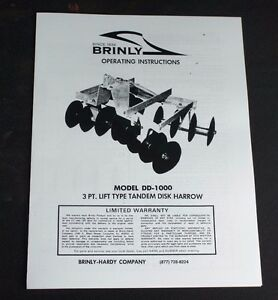 Brinly Dd 1000 3 point Double Gang Disk Harrow Disc Manual Super Lawn Tractor