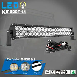 24 Inch 120w Led Light Bar Spot Flood Offroad Driving Lamp Boat Wire Kit