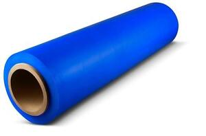 Stretch 18 X 1500 80 Ga Blue Color Hand Stretch Wrap Banding 8 Rolls