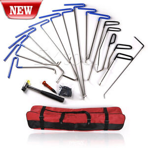 Set 16x Pdr Tools Paintless Dent Repair Removal Auto Body Rod Tools Kit B C
