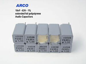 Arco Ks 10nf 1 63v Polystyrene Foil Audio Capacitors X 1000 Pieces