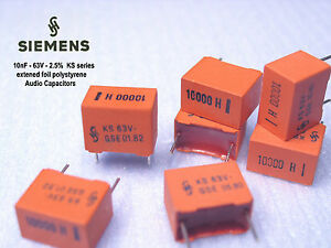 Siemens Ks 10nf 2 5 63v Polystyrene Foil Audio Capacitors X 1000 Pieces