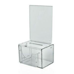 Azar 206388 Suggestion Box W Pocket Lock Keys Clear Acrylic Free S h