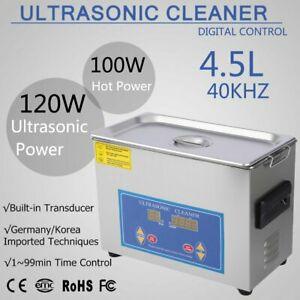 New Stainless Steel 4 5l Industry Heated Ultrasonic Cleaner With Heater Timer Hl
