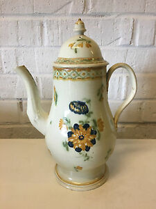Antique 18th Century Pearlware Ceramic Teapot W Yellow Blue Flower Decoration