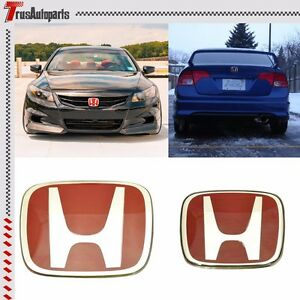 For 2008 2015 Honda Accord Sedan 4dr Red Jdm H Emblem 2pcs Set Front Rear