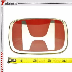 For 06 11 Honda Civic 2dr Coupe Front Back Red H Emblem Si Dx Ex 2pcs Set