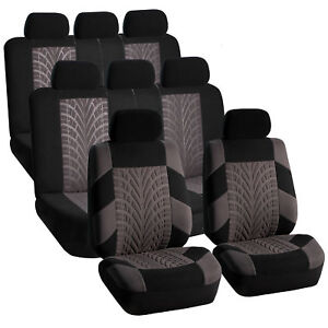 3 Row Car Suv Van Seat Covers Set For 8 Seaters Gray
