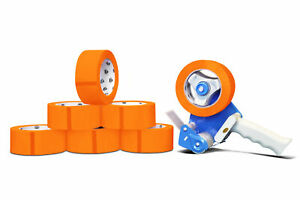 Orange Color Packaging Packing Tape 2 X 2 Mil X 110 Yds With Dispenser 6 Rolls