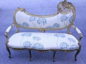 Spectacular 19th C French Louis Xv Style Gilded Love Seat Sofa New Upholstery