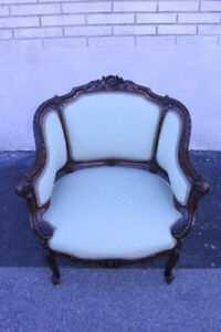 Magnificent 19th C French Heavily Carved Bergere Chair New Upholstery