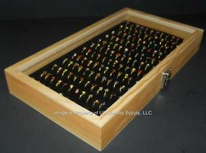 Natural Wood Glass Top Lid Black 144 Ring Jewelry Display Storage Box Case