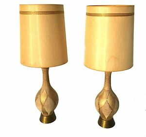 Mid Century Modern Pair Table Lamps Retro Vintage