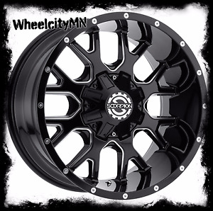 22 X14 Inch Gloss Black Milled Scorpion Sc19 Wheels Rims Gmc Sierra 1500 6x5 5