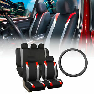 Racing Car Seat Covers For Auto With Leather Steering Wheel Red Black