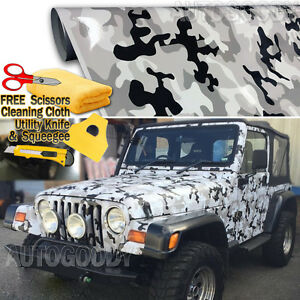 108 X 60 Snow Camo Camouflage Vinyl Film Wrap Decal Air Bubble Free 9ft X 5ft