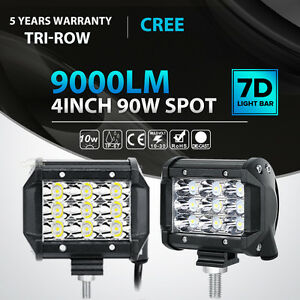 2x Tri Row 90w 4 Inch Led Work Light Bar Spot Offroad 4wd Atv Jeep Truck Vs 18w