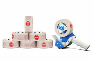 White Packaging Packing Stop Tape With Dispenser 2 0 Mil 12 Rolls 3 X 110 Yds