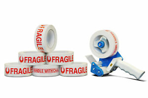 24 Rolls 3 X 110 Yds Fragile Marking Carton Packing Tape 2 Mil With Dispenser