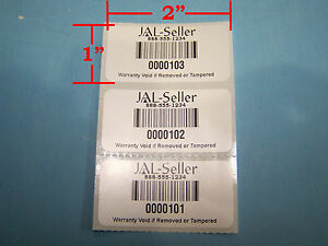 250 2 X 1 White Polyester Custom Printed Asset Tracking Labels Id Tags 2x1