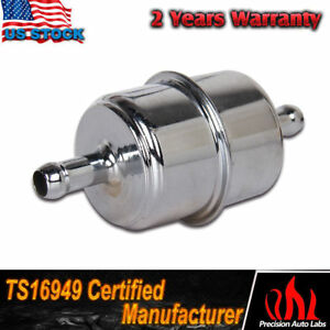 Top Chrome Canister Style Inline Fuel Filter 3 8 Hose Carbureted Us