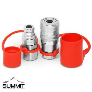 1 4 Npt Flat Face Hydraulic Quick Connect Coupler Coupling Plug Set