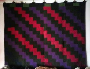 Lightning Antique Quilt From The Ohio Amish C 1900 Dress Wools