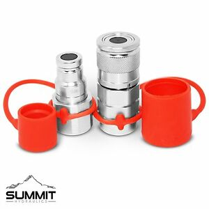 3 8 Flat Face Hydraulic Quick Connect Coupler Coupling Set 3 8 Npt Thread