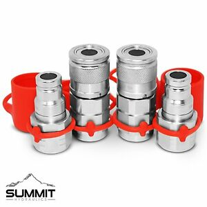 3 8 Npt Flat Face Hydraulic Quick Connect Coupler Coupling Skid Steer 2 Sets