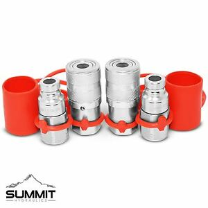 1 4 Npt Flat Face Hydraulic Quick Connect Coupler Coupling Plug 2 Sets