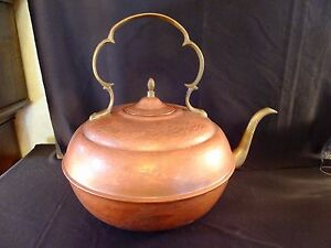 Large Solid Copper Kettle Pot With Brass Spout Handles Made In Israel