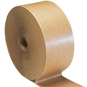 3 X 450 Brown Gummed Reinforced Paper Tape Kraft Shipping Packaging 60 Rls
