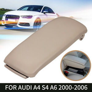 For 00 06 Audi A4 S4 A6 Beige Leather Arm Rest Center Console Lid Armrest Cover