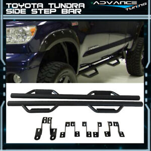 For 07 18 Toyota Tundra Double Cab Side Step Bar Running Boards Nerf Bar Black