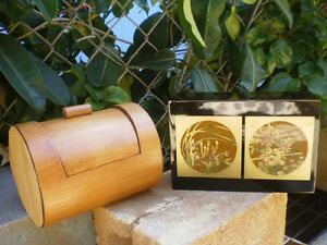 Vtg Wooden Lacquer Gold Makie Bamboo Trinket Box Wedding Bride Groom Used Gifts