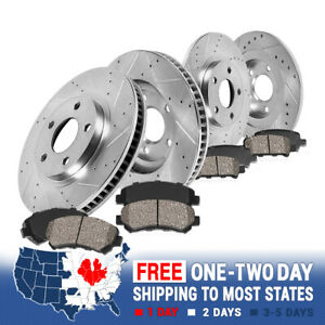 Front Rear Drilled Slotted Brake Rotors Ceramic Pads For 2004 2006 Tiburon