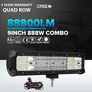 Quad Row Cree 9inch 888w Led Work Light Bar Spot Flood Offroad 4wd Atv Truck 10