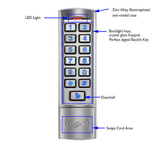 12 24v Wiegand 26bit Rfid Backlight Bell Access Control Metal Keypad Card Reader