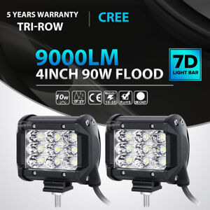 2x Tri Row 4 Inch 90w Cree Led Work Light Bar Flood Offroad Atv Suv 4wd Pk 18w