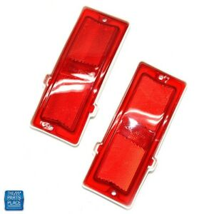1970 72 Chevelle Impala Red Side Marker Lens For Quarter Panel Pair
