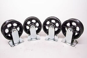 6 X 2 V grooved Steel Wheel Caster Set Of 4 900 Lbs Capacity ea
