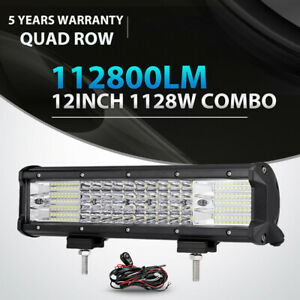 Quad Row 1128w 12inch Led Work Light Bar Spot Flood Offroad 4x4 Truck Atv 14 15