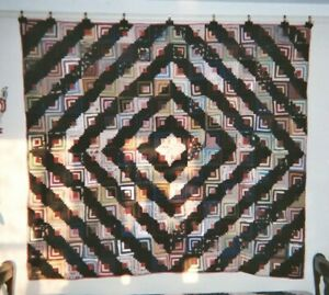 Barnraising Log Cabin Quilt C1890 1910 From Pa 68 X 76 Wools Silks Cottons